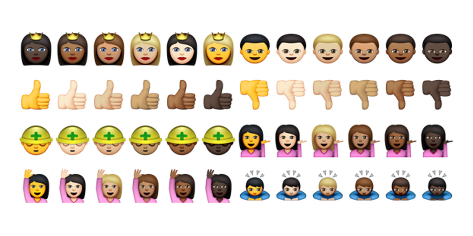 new emojis with different skin tones