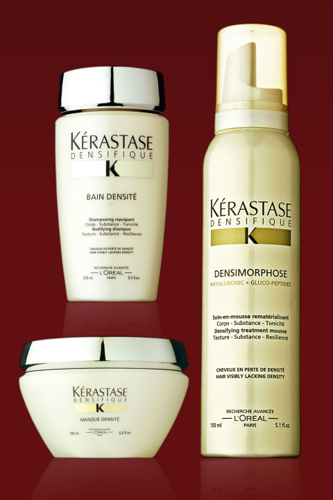 """The Jury's Choice: This new line thickens and adds density to hair by treating the scalp. Used in conjunction, the three products—a bodifying shampoo, replenishing mask, and thickening mousse—leave hair fuller and softer. Densimorphose Mousse, $42; Bain Densité, $39; and Masque Densité, $63; kerastase-usa.com The Jury Speaks: """"Perfect for those seeking density, volume, and thickness. This is a long—term cure. The products, as usual for Kérastase, give immediate results."""" """"The effect on fine hair is spectacular—it feels strengthened and substantially thicker. Plus, the scents are yummy."""" """"This essential treatment to re—densify the hair at the roots with daily products is a joy. Divine."""""""