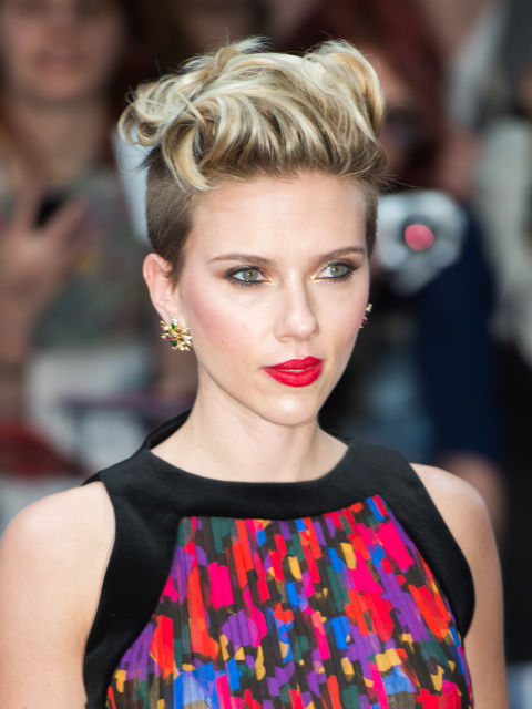 Scarjo quite literally takes waves to new heights with her edgy pompadour cut.