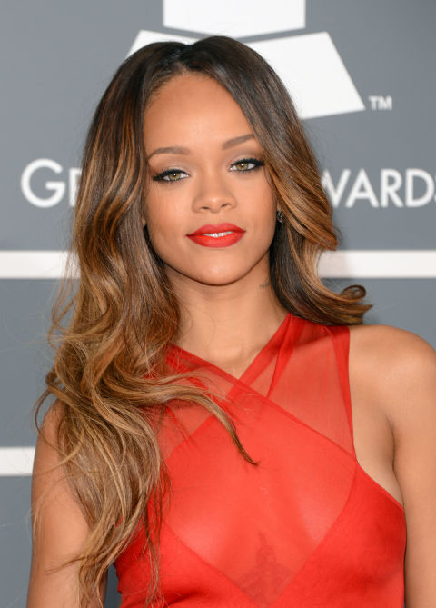 RiRi proves that slightly mussed-up waves are decidedly cool for the red carpet.