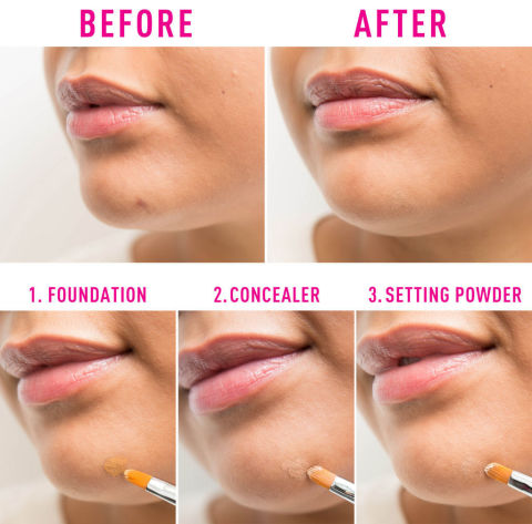 Layer foundation, concealer, and setting powder to ensure the blemish is completely covered and the product won't budge.To see a full article on this technique, click here.