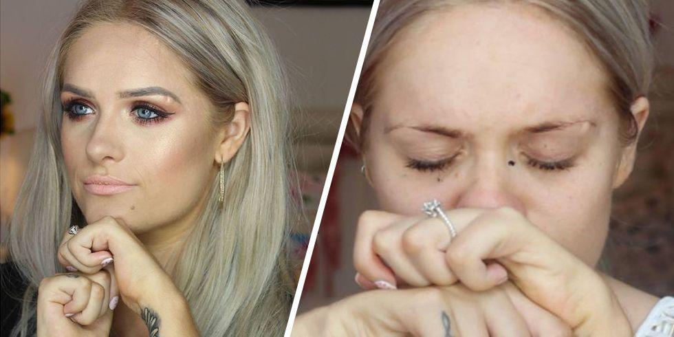 Zdjęcie przedstawia Jordan Bone przed makijażem i po wykonaniu makijażu