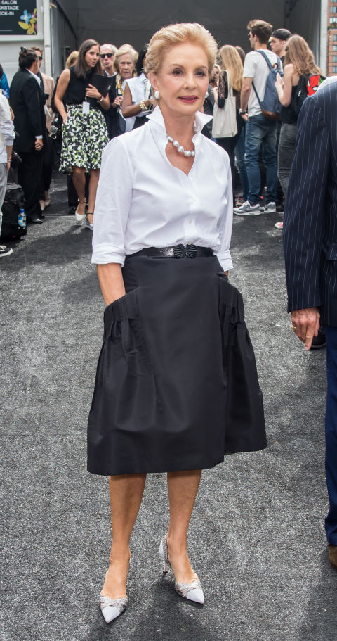 The look: White shirt, dark skirt, sometimes a popped collar—the society lady's version, of course.