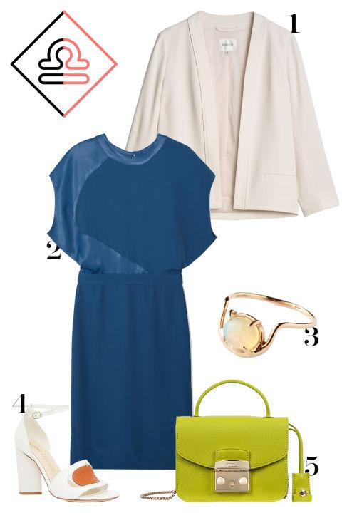 Classic and elegant, Libra gets a subtle boost here with some orange and green to go with her signature blue. 1. Aritzia crepe jacket, $195, aritzia.com. 2. Mango cutout-back dress, $120, shop.mango.com. 3. Olivia Kane opal ring, $253, oliviakane.co. 4. Opening Ceremony cutout heeled sandals, $350, openingceremony.us. 5. Furla top-handle bag, $328, furla.com.