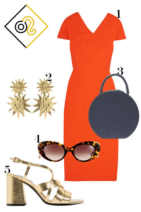 Ow ow. Bold Leo pushes the boundaries of good taste, but if you can look this good doing it, why not? Key words: red, luxury, gold.  1. Roland Mouret crepe-paneled matelassé dress, $2,295, net-a-porter.com. 2. Christie Nicolaides sunburst earrings, similar at christienicolaides.com.au. 3. Mansur Gavriel circle tote, $1,095, net-a-porter.com. 4. Pared tortoiseshell sunglasses, $240, paredeyewear.com. 5. Zara metallic sandals, $70, zara.com.