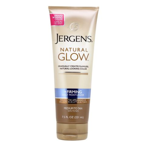 An easy drugstore fix that double-tasks by building natural color over a matter of days and decreasing the appearance of cellulite (AKA your swim season enemy). Jergens Natural Glow Firming Daily Moisturizer, $7; drugstore.com.