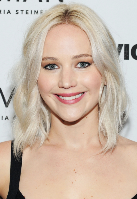 Jennifer Lawrence has done a lot of experimenting on the platinum blonde spectrum, and her current 'do is cooler than cool. Literally. The equal parts white and silver shade is totally reminiscent of the metallic element itself, buuuut is super high maintenance. (AKA you better have purple shampoo on tap.)