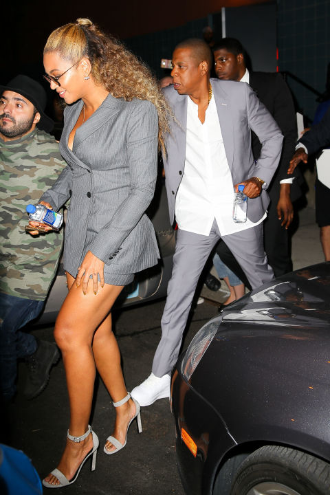 To support their friend Usher at the Hands of Stone premiere, Queen Bey and Jay donned matching gray power suits. Now excuse us while we order our own bespoke pinstripe number à la Bey.