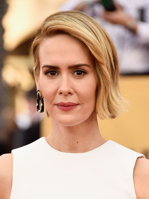 Sarah Paulson showed us this week that she can pull off essentially anything—green sequins and all—and this slicked back, asymmetrical cut is no exception.