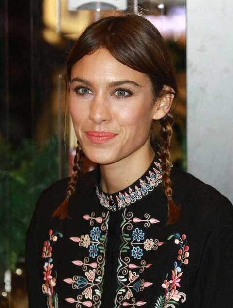 Proof that Pippi Longstocking hair can still look chic: Alexa Chung's whimsical braids that highlight those cheekbones.