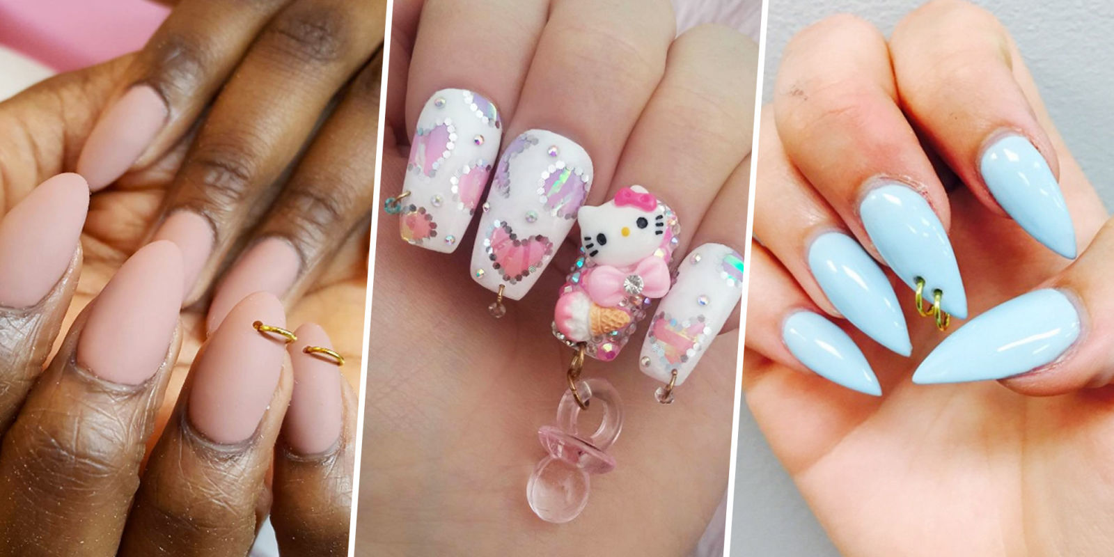 Nail Piercing Trend Nail Dangle Accessories