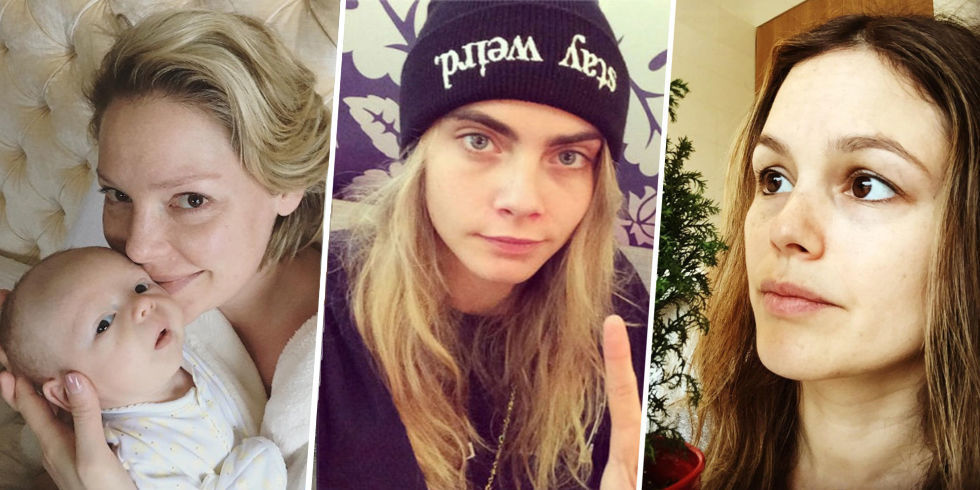 Stars no makeup selfie celebrity