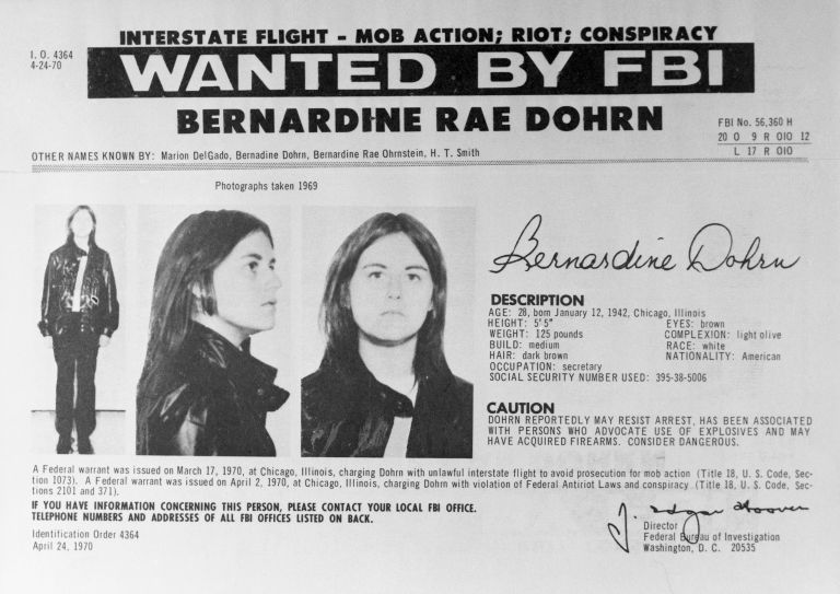 Bernardine Dohrn FBI Wanted poster