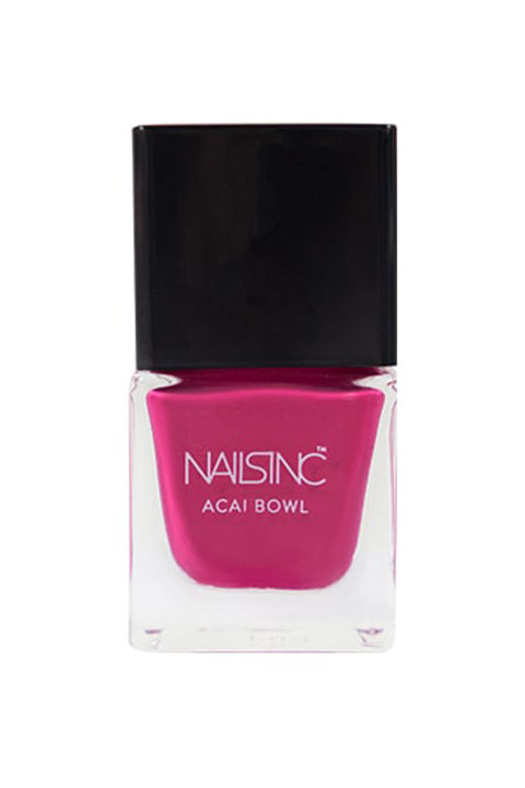 A bright shade of raspberry inspired by those Insta-friendly acai bowls that looks good enough to taste.  Nails Inc. Acai Bowl Nail Polish Collection, $25; sephora.com.