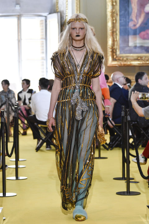 The cleverest thing about this is not the allover sparkle(though YESYESYES), but the slight off-ness of the tealtights. While Chanel might have said to take one thing off before you leave the house, Gucci says add seven and make sure they're weird.