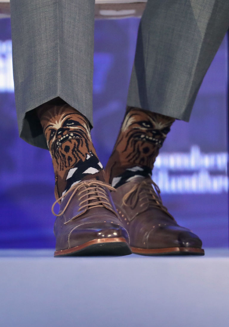 Justin Trudeau's Chewbacca socks - Justin Trudeau Wears Chewbacca Socks To Business Panels In New York