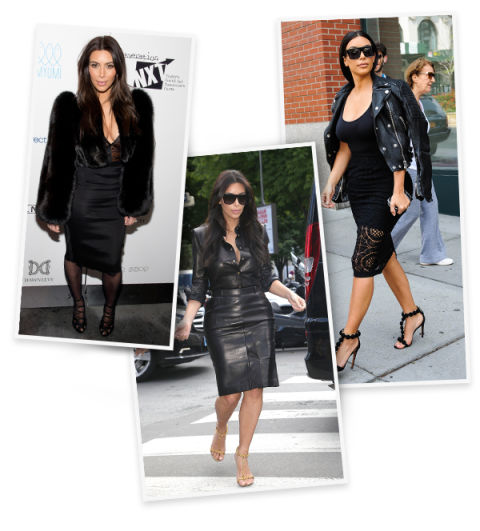 When all else fails, Kim knows that there's no such thing as the new black. She wears the hue in form-fitting silhouettes in luxe textures like fur and leather.