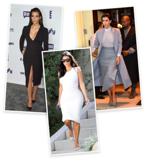 Kim often looks to tonal outfits to lengthen her petite frame. Look for tidy, streamlined combinations in a neutral hue to channel her look.