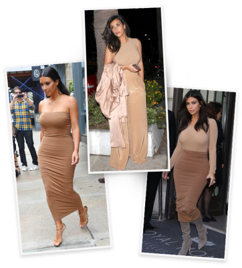 Kim has proved time and time again that flesh-colored pieces are decidedly chic. Not to mention, give the illusion of longer limbs in both stretchy and silky fabrics.