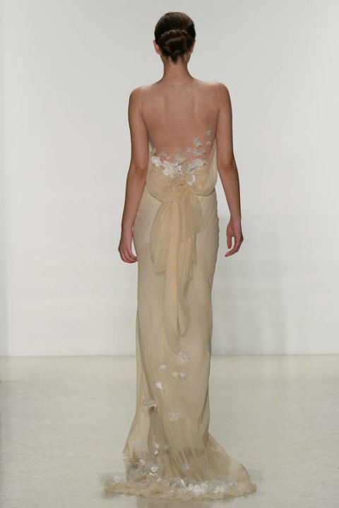 Off-White Strapless Illusion Gown