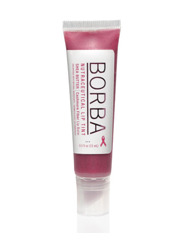 BORBA LIP TINT, $14. Borba Lip Tints make you feel good on the inside and out. This soft pink balm is infused with soothing cashmere fibers, shea butter, and Borba's clarifying and anti-aging nutraceutical technology, leaving lips soft and smooth. 10% of proceeds benefits the Breast Cancer Research Foundation. Available at borba.com.