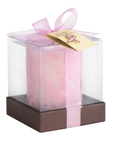 PIER 1 CANDLE, $15. This blossom-filled candle from Pier 1 features its exclusive Floral Blossom fragrance and comes in a frosted glass holder with a flocked flower design. Pink ribbon pin is also included. 25% of the purchase price of each candle benefits Komen for the Cure. Available at all Pier 1 Imports stores.