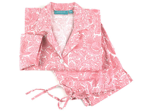 NEEDHAM LANE SASHA PAJAMAS, $58. Made of soft 100% cotton poplin, Needham Lane pajamas get softer with every washing.  PJs have button-front top with notched collar and side vents at hem for a comforting fit. 15% of proceeds will benefit Susan G. Komen for the Cure. Available at needhamlane.com.