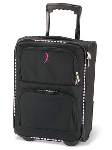 BMW WEEKENDER CARRY-ON, $60. Fly through long baggage-claim lines and make weekend getaways a breeze with this roomy carry-on from BMW. 80% of the proceeds benefits Susan G. Komen for the Cure. Available at bmw-online.com.