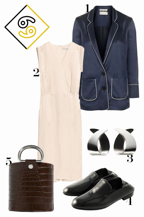 Fashion is so in tune with you right now, Cancer, so tap into your minimalist, Céline-y roots and choose chic but still forward-leaning separates. 1. Topshop satin jacket, $125, topshop.com. 2. & Other Stories midi dress, $115, stories.com. 3. Trademark curved earrings, $198, trade-mark.com. 4. Alumnae New York loafers, $575, shop.alumnae.nyc. 5. Zara croc bucket bag, $30, zara.com.