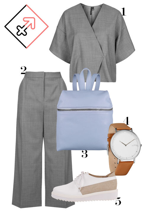 Not quite a Chloé tracksuit, but this co-ord set—with a backpack in purple (power color alert) will suit sporty, comfort-seeking Sag just fine. 1. Topshop kimono top, $115, topshop.com. 2. Topshop houndstooth trousers, $160, topshop.com. 3. Kara leather backpack, $440, net-a-porter.com. 4. RumbaTime watch, $60, rumbatime.com. 5. Claetyn Wood lace-up shoe, $250, claetynwood.com.