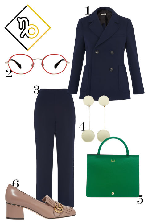 One word: tailoring. Not a bad price either, eh? 1. Whistles double-breasted blazer, $330, whistles.com. 2. Warby Parker oval glasses, $195, warbyparker.com. 3. Whistles cropped kick-flare trousers, $280, whistles.com. 4. Trademark drop circle earrings, $198, trade-mark.com. 5. OAD New York convertible leather bag, $495, oadnewyork.com. 6. Gucci fringe leather loafers, $750, net-a-porter.com.