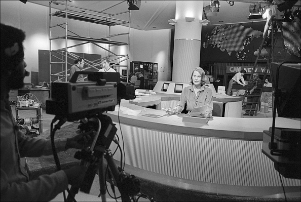A CNN studio in the 1980s